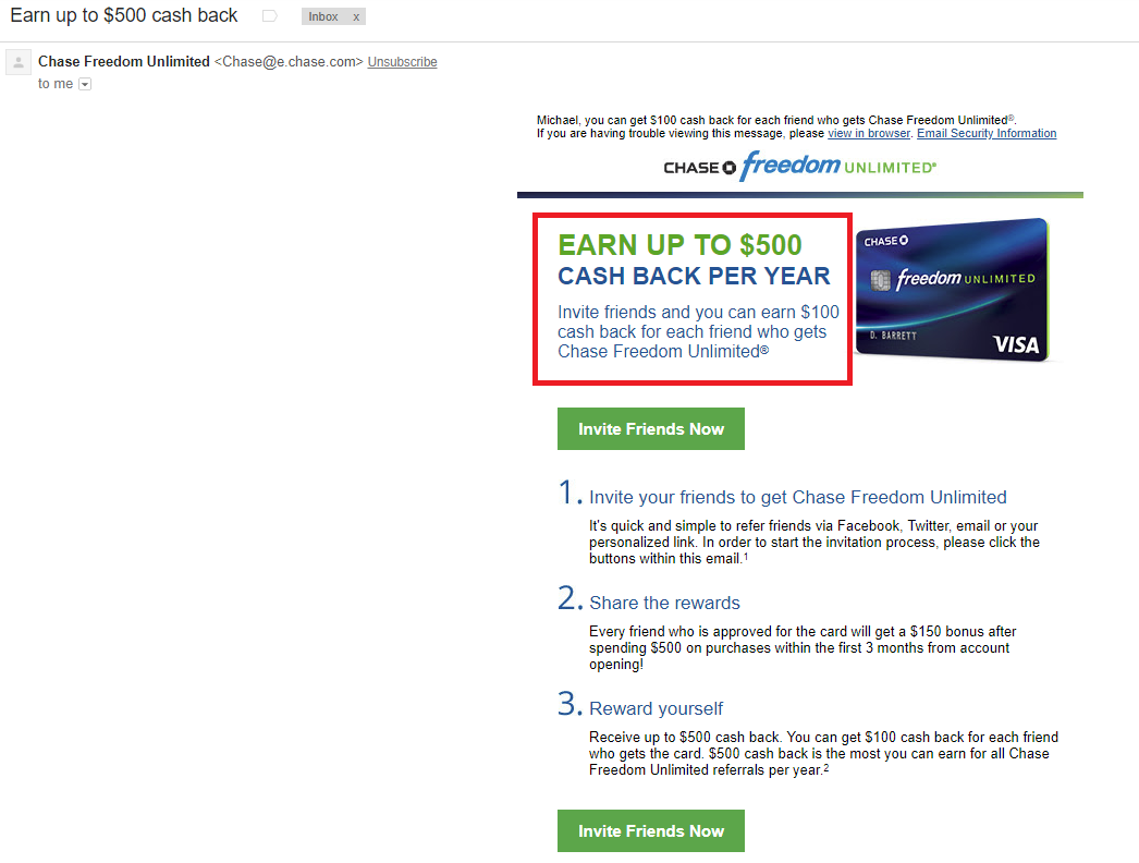 chase freedom unlimited credit card $500 cash back referral bonus email