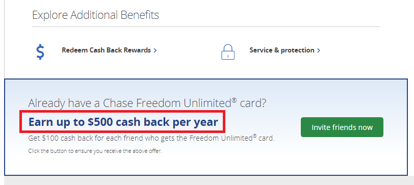chase freedom unlimited credit card $500 cash back referral bonus incentive