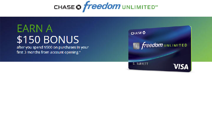 Chase Freedom Unlimited Referral Bonus ($500/yr + $150 bonus)